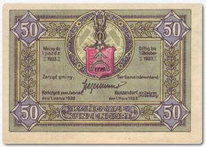 Konczyce-Kunzendof 50 pfennig note