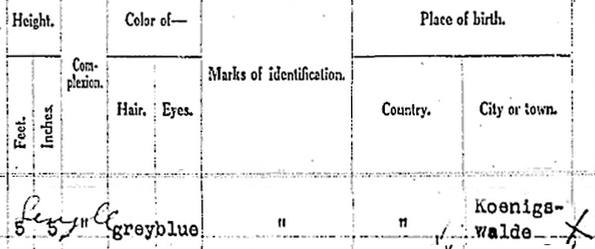 Closeup of Caroline's information on the ship manifest