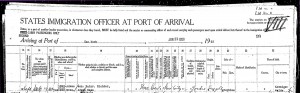 Immigration record for Caroline Richter's visit to Germany in 1922-23
