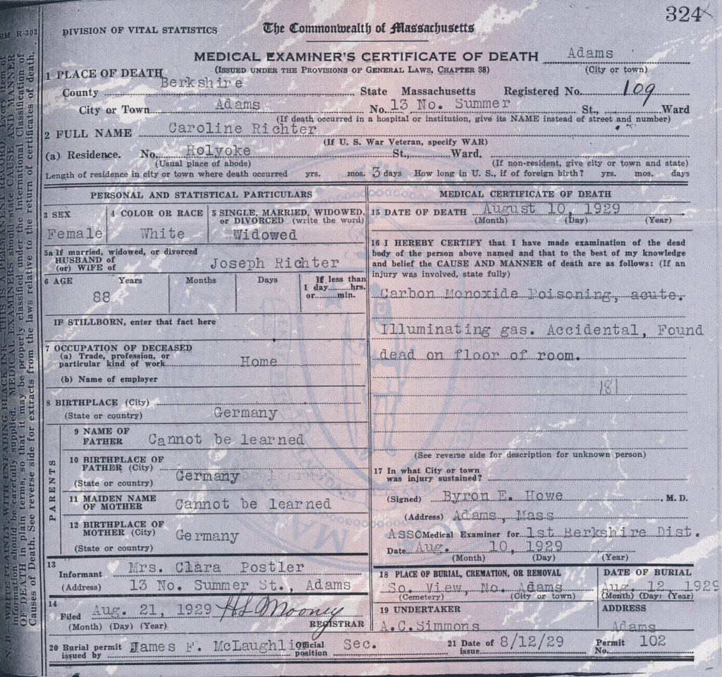 german death certificate template - 1929 caroline richter death certificate old family stories