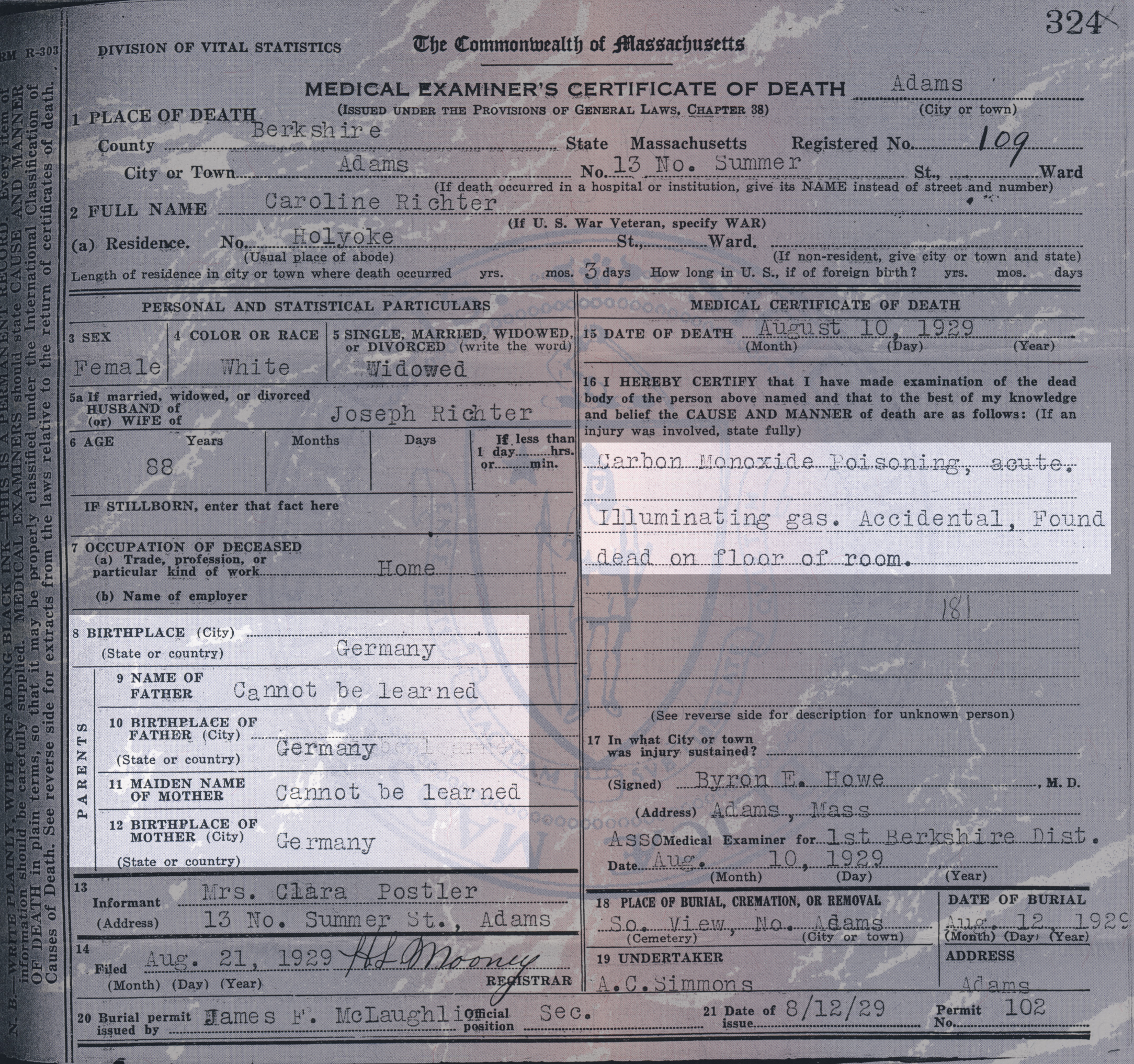 Massachusetts Death Certificate for Caroline Richter - Old