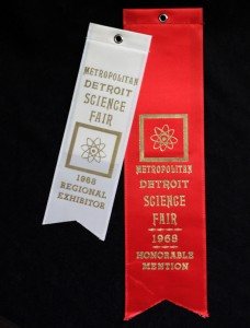 Metropolitan Detroit Science Fair award ribbons from 1968