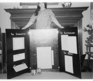 My mom with her science fair display